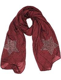 Mevina Damen Schal Nieten Glitzer Stern Star Sterne Baumwolle groß Tuch Halstuch Premium Qualität