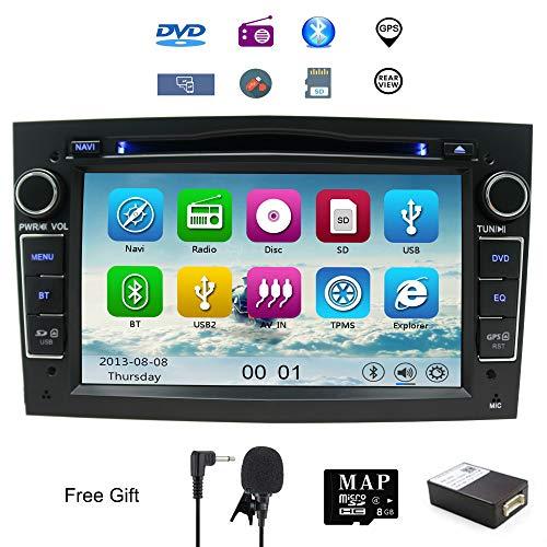 NVGOTEV doppio DIN stereo 17,8 cm, lettore DVD CD navi GPS per Opel Corsa Astra Vectra Zafira Antara Meriva supporto GPS audio video Bluetooth USB SD Swc FM AM RDS (Nero)