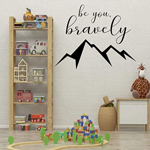 Mut Wall Decal f¨¹r Kinder Schlafzimmer Spielzimmer oder Baby Kinderzimmer werden Sie tapfer zitieren mit Berggipfel Vinyl Dekor (Decals Kinder-spielzimmer)