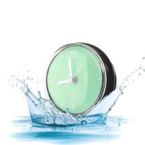 Kreative Badezimmer Uhr Mini Wasserdichte Uhr mit Saugnapf für Badezimmer Küche SPA Sauna C (Glas Mini Fliesen)
