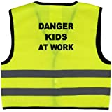 Unisex Childs Hi Vis Vest Kids High Visibility Waistcoat With Danger Kids At Work Writing At the Back