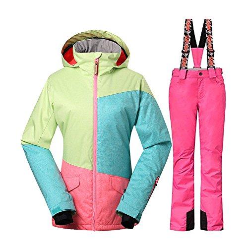 Wonny 2 Teilig Skianzug Wasserdicht Schneeanzug Jacke und Hosen Unisex Skiset Pink M