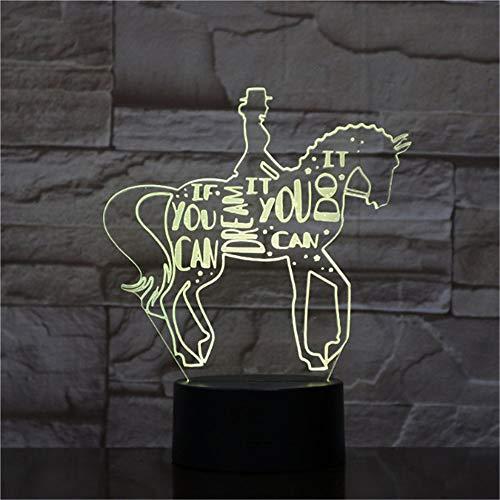 Reiten Tier 3D Lampe Nacht USB LED Beleuchtung Multi Farbwechsel Weihnachten Kinder Spielzeug Dekorative Tischdekor Lampe - Reiten Krawatte