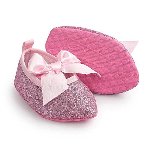 Clode® Bébés filles Bowknot Soft Sole Princess Chaussures Soft Chaussures Chaussures plates (12~18 mois, Rose) Rose