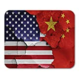 Mouse Pads Trade Flags of USA and China on Cracked Wall War Conflict Decline Mouse pad 9.5' x 7.9' for Notebooks,Desktop Computers Accessories Mini Office Supplies Mouse Mats
