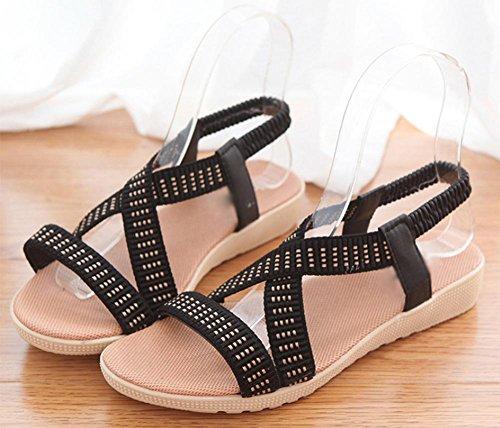 Rome sandales à bout ouvert sangle élastique Black