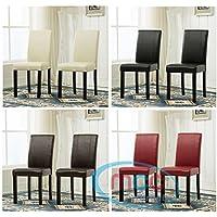 Juego de 2 sillas de comedor de cuero sintético con patas de madera maciza para restaurantes domésticos y comerciales (rojo)