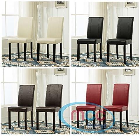 Lot de 2 chaises salle-à-manger en simili-cuir avec pieds en bois robuste, usage domestique & restaurants [Noir*Marron*Rouge*Crème*] (Rouge)