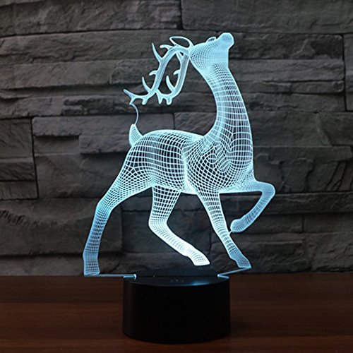 HeXie Magic Christmas Deer Lamp 3D Illusion 7 Colours Touch Switch USB Insert LED Light Birthday Present and Party Decoration