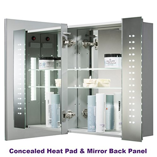 led illuminated bathroom mirror cabinet with lights shaver socket