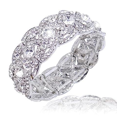 Ever Faith österreichischen Kristall Hochzeit Stretch Armband klar - Silber-Tone