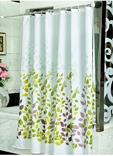 Generic Polyester Blume Muster Vorhang für die Dusche mit Kunststoff Haken und Metall Locher, plastik, grün, 0.86W*0.78H (Koi Blumen-prints)