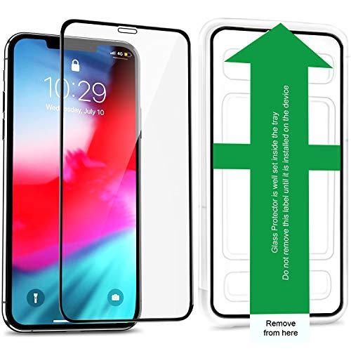 wsiiroon Panzerglas Schutzfolie kompatibel mit iPhone 11 Pro, iPhone XS/X 3D Full Cover Panzerglasfolie [2 Stück] mit Schablone für Positionierung, 9H Gehärtes Glas, Anti-Kratzer Displayschutzfolie