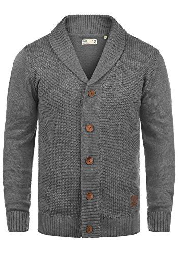 !Solid Torres Herren Strickjacke Cardigan Feinstrick mit Schal-Kragen und V-Ausschnitt aus Hochwertiger Baumwollmischung Meliert, Größe:M, Farbe:Grey Melange (8236)