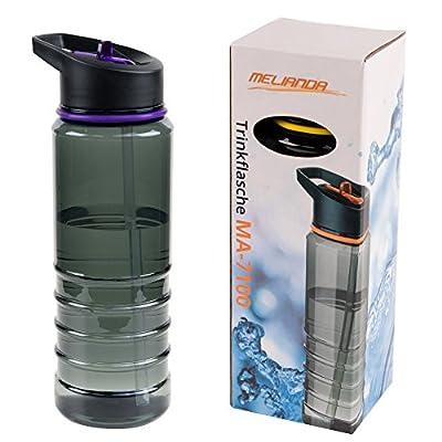 MELIANDA MA-7100 leichte Trinkflasche Sportflasche mit 750 ml / mit Trinkhalmsystem / aus Tritan / BPA frei / bruchsicher / geschmacksneutral