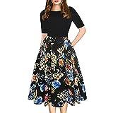 Jaminy Mode Damen Vintage Patchwork Taschen geschwollen Schaukel Drucken Beiläufig Party Kleid S-2XL (Schwarz, XL)