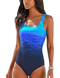 286eeba26c72c Happy Sailed Damen Badeanzug Farbverlauf Kreuz Rückseite Einteiler Swimsuit  ...