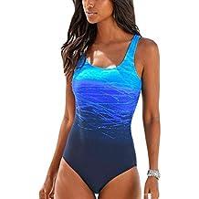 da5d69b75225 Happy Sailed Damen Badeanzug Farbverlauf Kreuz Rückseite Einteiler Swimsuit  ...