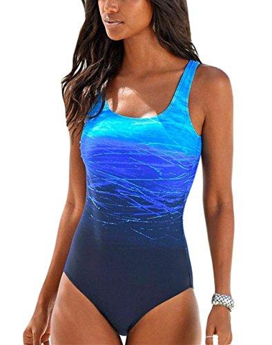 Happy Sailed Damen Badeanzug Farbverlauf Kreuz Rückseite Einteiler Swimsuit, 1 Blau, Small(EU32-34)