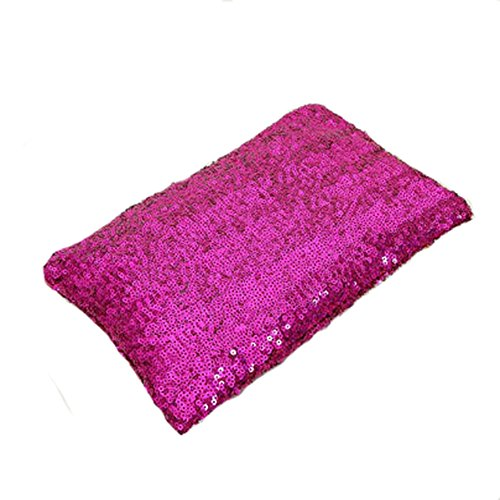 GSPStyle Damen Handtasche Glitter Clutch-Tasche Party Abendtasche Mit Reißverschluss Dunkelrosa