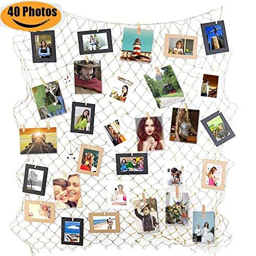 Goldbeing Foto hängende Anzeige Fischernetz Bilderrahmen Collage Fotorahmen Holzbilderrahmen mit mini Wäscheklammern zum Aufhängen von Fotos, Bildern, Postkarten und Kunst (Style b) (Aufhängen Bilder Wand)