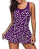 Damen Elegant Badeanzug Halter Große Größen Zweiteilig Strand Bikini Set Tupfen Drucken Tankini Bademode Violett 2XL