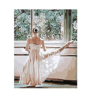 QIANERA Digitale Pittura Ballerina Dipingere con i Numeri per Adulti Bambini Dipinto di Numeri Digitale Pittura ad Olio Tela Kits Junior per Adulti Bambini Kids Parete Arte 16 × 20 Pollici
