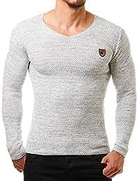 EightyFive EF1464 Jersey de hombre, blanco y negro