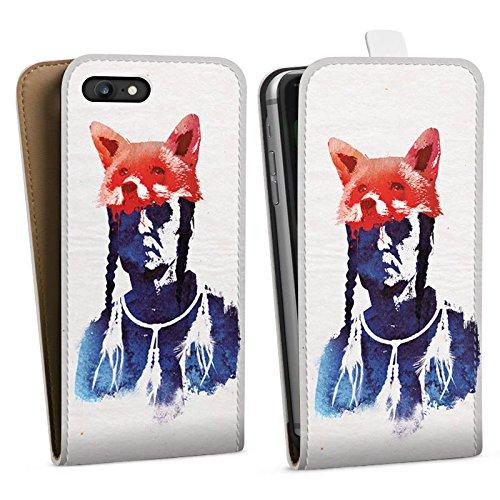 Apple iPhone X Silikon Hülle Case Schutzhülle Fuchs Bunt Art Downflip Tasche weiß