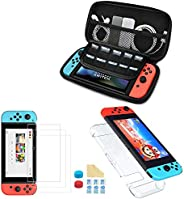 Nadole 5 in 1 Nintendo Switch accessory kit with Nintendo Switch Case, Joy Con Transparent Housing, 3 Screen P