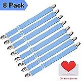 Joseche verstellbare Bettlakenspanner, 8 Stück, Blau, elastisch, für die Ecken von Bett, Matratze oder Sofa (Blau [8 Pack])
