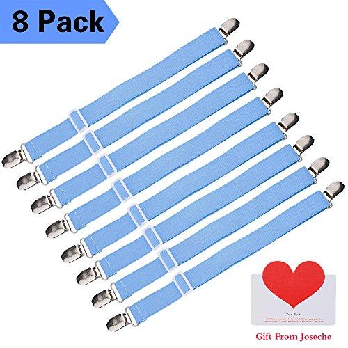 Joseche verstellbare Bettlakenspanner, 8 Stück, Blau, elastisch, für die Ecken von Bett, Matratze oder Sofa (Blau [8 Pack]) (Mikrofaser-sofa-bett Schwarze)