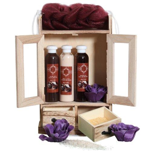 Brubaker, Set sapone bagno e doccia con armadietto in legno, 10pezz