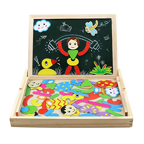 Magnetico lavagna puzzle di legno giochi montessori magnetica lavagnetta a double face magnetica puzzle apprendimento educativo magnetici giochi creativi costruzioni gioco per bambini