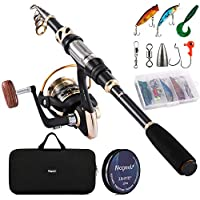 Magreel Telescopic Fishing Rod and Spinning Reel Combo Set with Fishing Line, Fishing Lures Kit& Accessories and Carrier Bag for Saltwater Freshwater