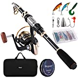 Magreel Fishing Rod Telescopic Retractable Fishing Rod and Reel Combo with Carrier Bag