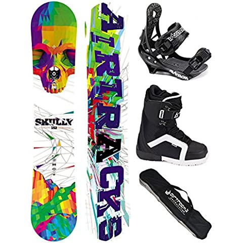 AIRTRACKS SNOWBOARD SET - TABLA SKULLY WIDE ROCKER 157 - FIJACIONES SAVAGE - BOTAS STRONG 44 - SB BOLSA/