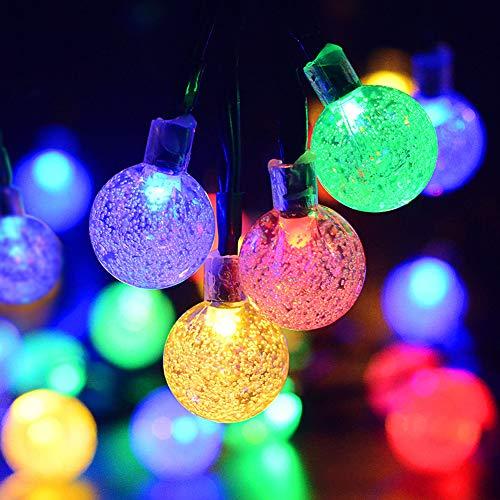 Kaiercat® Luci a Filo Solari da Esterno, Luci Sferiche Impermeabili per Giardino, Patio, Cortile, Casa, Albero di Natale e Decorazioni Natalizie (Multicolore)