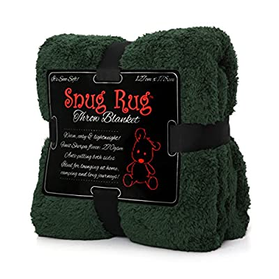 "Snug Rug Special Edition Luxury Sherpa Fleece Snug Rug Throw Blanket, Racing Green, 127 x 178cm (50"" x 70"") - inexpensive UK light store."