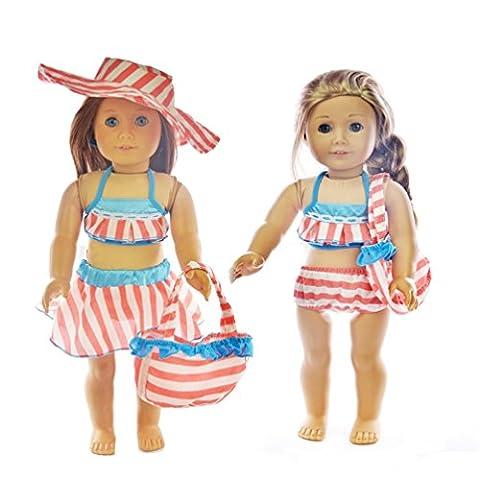 Ebuddy Bikini 5pcs Sets Include Hat Handbag Top Bottom Skirt Doll Clothes For 18 inch American Girl