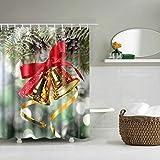 Tende da Doccia Natale Campane Pattern Rapida Impermeabile per Asciugare La Tutela Ambientale Materiali Gancio Metallico E Foro per Appendere Le Tende della Doccia (Dimensione : 180 * 180Cm)