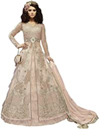 Like A Diva Front Slit Anarkali With Pants & Frill Skirt/Lehenga In Pale Peach For Women