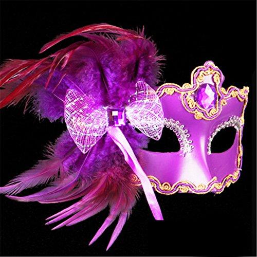 Halloween Maske Make-up Tanz Show Gemalte Federn Halbes Gesicht Spitze Schöne Prinzessin Schmetterling Knoten Masken,Lila (Halbe-gesicht Halloween-make-up Für Jungs)