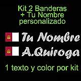 Vinilin - Pegatina Vinilo Bandera Castilla - La Mancha + tu Nombre - Bici, Casco, Pala De Padel, Monopatin, Coche, etc. Kit de Dos Vinilos (Gris Claro)