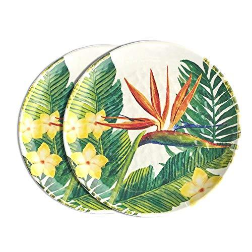 Les Jardins De La Comtesse - 2 Assiettes à dessert en mélamine - Fleurs Exotiques - 2 pièces