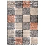 """Sona-Lux alfombra tejida gris-beige """"Seleccionar el tamaño"""" 140 x 200 cm"""