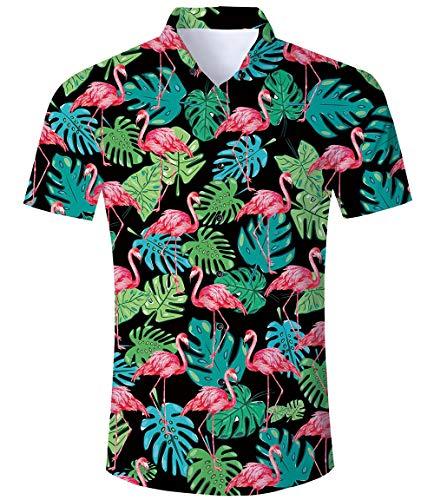 TUONROAD Hawaiihemd Herren Funny Flamingo Shirt 3D Gedruckt Muster Bunte Funky Shirt Hemd Herren Kurzarm Sommerhemd Button Down Freizeithemden Strandhemd Hawaii Hemd Männer Jungen - L - Hawaii-blumen-muster-shirt