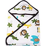 Guru Kripa Baby Products™ Cotton Cartoon Print Hooded Double Layer Wrapping/Wrapper Sheet- Coffee