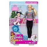 Barbie Quieo Ser Patinadora sobre hielo - Muñeca con niña y accesorios (Mattel FXP38)