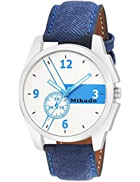 Mikado Alexander Design Blue Leather Strap Casual Analog Watch For Men And Boy's